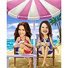 Life's a Beach Women's Caricature Art Print