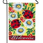 Lady Bugs and Daisies Welcome Garden Flag