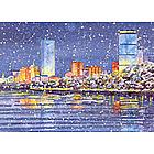 Boston Panoramic Winter Skyline Holiday Cards