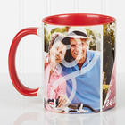 You and I Personalized Photo 11-Ounce Mug with Red Handle