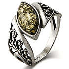 Green Baltic Amber Floral Marquise Sterling Silver Ring
