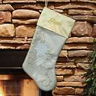 Embroidered Gold Snowflake Stocking