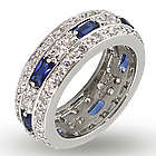 Sterling Silver Anniversary Band with Baguette Sapphire CZs