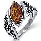 Baltic Amber Floral Marquise Sterling Silver Ring