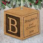 Engraved Wood Baby Block Ornament