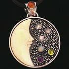 Multi Gemstone Moon Pendant