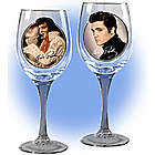 Elvis Pours On the Charm Wine Glasses
