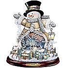 Thomas Kinkade Spreading Holiday Cheer Snowman Sculpture