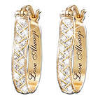For Love, Always Engraved Diamond Earrings