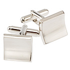 Rhodium Square Curved Cufflink