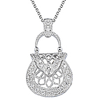Diamond Purse Pendant in 18K White Gold