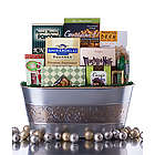Silver and Gold Gourmet Sweets and Snacks Gift Basket
