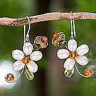 Pearl and Peridot Flower Earrings