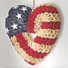 "14"" Wood Petal Rose Patriotic Heart Wreath"