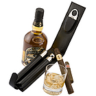 Personalized Leather Cigar and Flask Set