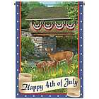 Happy 4th of July Wildlife Art Outdoor Flag