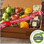 Organic Fruit and Snacks Box with Valentine's Day Ribbon