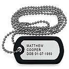 Personalized Aluminum Dog Tag with Bead Chain