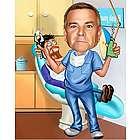 Dentist Personalized Caricature Art Print
