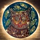 Handcrafted Lighted Owl Metal Wall Art