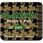 Slainte Irish Field of Clovers Personalized Coaster Set