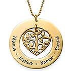 10K Gold Heart Family Tree Necklace