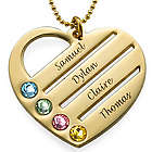 10K Gold Birthstone Heart Necklace with Engraved Names