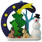 Snowman with Bunnies Ornament
