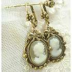 Bridal Her Majesty Green Cameo Earrings