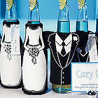 Tuxedo and Wedding Gown Bottle Koozie
