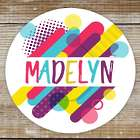 96 Colorful Retro Personalized Stickers