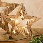Small Wooden Lighted Christmas Table Star Decoration