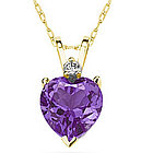 Heart Amethyst and Diamond Stud Pendant in 14K Yellow Gold