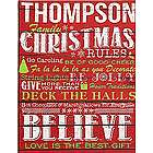 Personalized Family Christmas Rules Canvas Wall Art