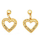 Diamond-Cut Open Heart Earrings in 14K Yellow Gold