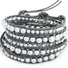 Graduated Grey Pearl and Glass Mix Wrap Bracelet
