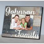 Personalized Family Grey Wood Grain Picture Frame