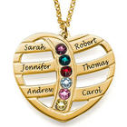 Near Mom's Heart Engraved Gold Necklace with Birthstones