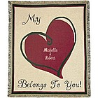 """My Heart Belongs to You"" Personalized Love Throw"