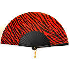 Black and Red Tiger stripes Silk Spanish Hand Fan