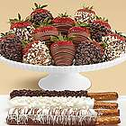 4 Caramel Pretzels and 12 Milk and Dark Chocolate Strawberries