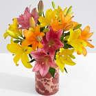 Royal Lilies with Orange Floral Vase