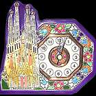 Handmade Barcelona Style Ceramic Clock with 24Kt Gold