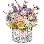 Hummingbird and Floral Illuminated Crystal Centerpiece