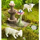 Miniature Fairy Garden Sheep, Gazing Ball, and Fountain