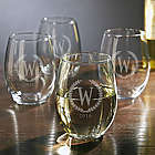 4 Statesman Personalized Stemless Wine Glasses