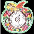 Handmade Ceramic Apple Clock with Enamels and 24 Kt Gold