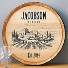 Personalized Name and Date Established Vineyard Wine Barrel Sign