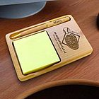 Personalized Baseball Wooden Notepad and Pen Holder