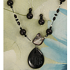 Engraved Black Onyx Pendant and Necklace with Earrings